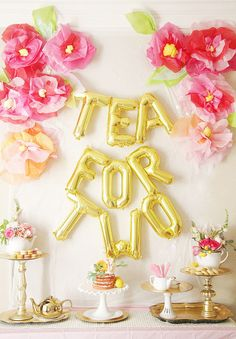 "Tea Party Baby Shower Ideas For Twins! Host the cutest twin baby shower with the ""tea for two"" baby shower theme! Balloons and decoration ideas for a twin baby shower! Second Birthday Ideas, Girl 2nd Birthday, Tea Party Birthday, Birthday Party Themes, Princess Birthday, Frozen Birthday, Birthday Decorations, Birthday Celebration, Gold Party"