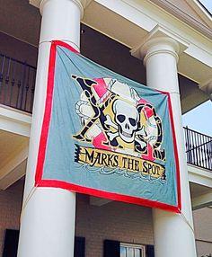 ΧΩ marks the spot! Sorority Banner, Sorority Bid Day, Sorority Life, Tri Delta, Delta Gamma, Theta, Pirate Theme, Greek Week