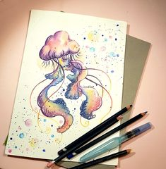 Watercolour pencils illustration. Jellyfish illustration.