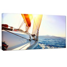 "DesignArt 'Sailboat Sailing in the Blue Sea' Photographic Print on Wrapped Canvas Size: 16"" H x 32"" W x 1"" D"
