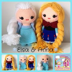 Anna and Elsa, frozen crochet dolls. Handmade by me !  Available to purchase from my fb page - Darcy's Dolls  (I am in no way affiliated with Disney )