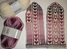 Ravelry: Sydänlapaset (eli Valentinat) pattern by U. Knit Mittens, Knitting Socks, Knit Socks, Ravelry, Knitting Patterns, Wool, Crochet, Accessories, Threading