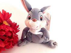 Rabbit Stuffed Animal Grey and White Mini Bean by TKSPRINGTHINGS