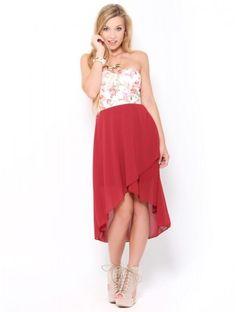 #Floral Corset High-Low #Dress
