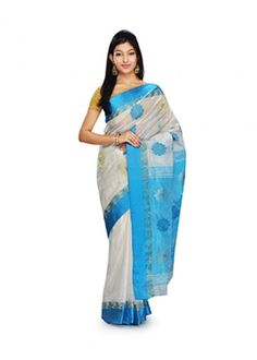 White and Blue Embroidered Handloom Garad Silk #Saree