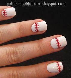 Polish Art Addiction: Baseball Nails perfect for angels games! Softball Nails, Baseball Nails, Baseball Mom, Baseball Cupcakes, Baseball Videos, Baseball Birthday, Baseball Season, Baseball Field, Fancy Nails