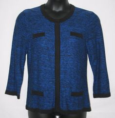Cable & Gauge Cardigan Sweater XL Blue with Black Trim Women's Fall Winter Fashion