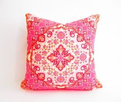 Orange Pink Pillow, Girls Bedroom Decor, Bohemian Pillows, 18 Inch Square Decorative Throw Accent Pillow, Boho, Modern Eclectic, Bright on Etsy, $30.00