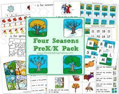 FREE Four Seasons PreK/K Pack ~ contains 2 NEW emergent readers and accompanying activities for beginning reading, writing, and math | This Reading Mama