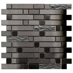 Stainless Steel Tile-Black Stainless With Black Wave Glass Mosaic Tile Brick Tiles, Wall Tiles, Grey Tiles, Black Backsplash, Backsplash Ideas, Contemporary Kitchen Backsplash, Contemporary Tile, Stainless Backsplash, Beadboard Backsplash
