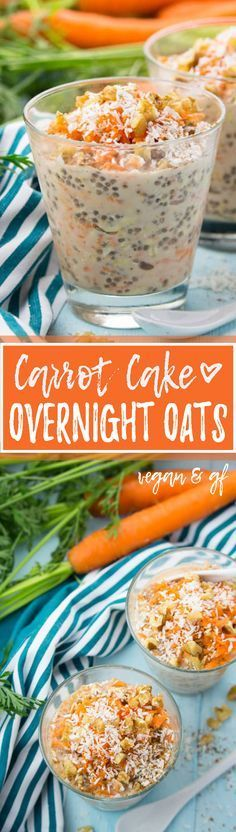 These carrot cake overnight oats with chia seeds, walnuts, and coconut flakes are so delicious and super easy to make. Plus, they're incredibly healthy! And they're vegan and gluten-free. ♡ | veganheaven.org