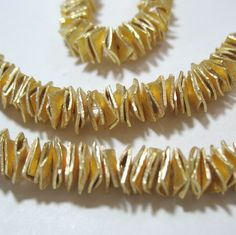 NEW! GP Gold Plated 6mm Square Flat Wavy Chip Cornflake Spacer 50 Beads  #Spacer
