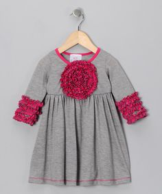 Freckles + Kitty Gray Blooming Rose Dress - Girls ae66ea251ec