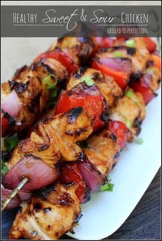 Grilled healthy Sweet & Sour Chicken makes this recipe healthier while still maintaining the authentic taste of this classic and favorite Chinese take-out dish. Grilling Recipes, Cooking Recipes, Healthy Recipes, Kabob Recipes, Recipies, Vegetarian Grilling, Healthy Grilling, Barbecue Recipes, Vegetarian Food