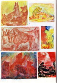Taf. 49: Tierkunde 15 in Pfl.farb. 01  Die Anwend. von Pfl.farb. ist zu begr., aber die Mal. wird dadurch nicht schärfer.  1. Wolfsrudel in Rot  2. Tigerbaby in Gelb mit roten Streifen auf gelb. Boden mit gelb-grünlich. Hintergr.  3. Pferd in Rot auf Boden in Rot mit weiss-rot. Hintergr. 4. anged. Raubkatze in Gelb auf Boden in Gelb-Grün mit Hintergr. in Rot-Bl.-Gelb 5. Hunde? in Rot-Bl. mit Hintergr. in Bl.-Gelb mit Heilig. 6. Wolfsrudel in Schwarz vor rot. Him. mit Lichtfenstern in Weiss Wax Crayons, Painting & Drawing, Color Blocking, Art Projects, Mixed Media, Watercolor, Drawings, Animals, Crayons