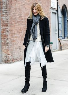 snow outfits, what to wear in a snowstorm, winter outfit, winter outfit-layering-sara ruffo-over the knee boots-white skirt-fisherman sweater-black coat-scarf-via