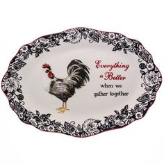 Rooster Serving Platter  sc 1 st  Pinterest & Red Rooster Farmhouse...Rooster Plate/Black Red White/Cracker ...