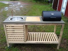 Outdoor Kitchen Grill, Outdoor Cooking Area, Outdoor Barbeque, Outdoor Kitchen Design, Diy Kitchen, Outdoor Kitchens, Outdoor Island, Kitchen Decor, Patio Kitchen