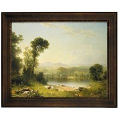 """Darby Home Co 'Pastoral Landscape 1861' Framed Oil Painting Print on Canvas Size: 13.75"""" H x 16.75"""" W, Format: Bronze Frame"""