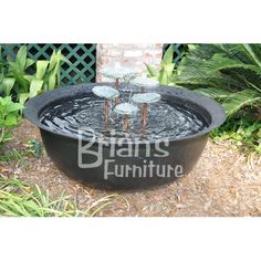 Fiberglass Sugar Kettle with 5 Level Rain Rock Fountain | Brian's Furniture