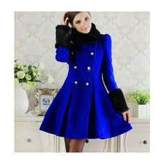 Buy Long Sleeve Fur Collar Double Breasted Fashion Coat Blue with... via Polyvore