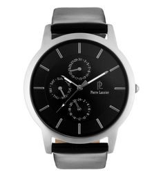 Pierre Lannier | Montre Acier Cuir | http://www.rienasemettre.fr/shopping-list/montre-homme-acier-chrome-pierre-lannier/