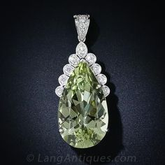 31.31 Carat Green Beryl and Diamond Pendant Necklace