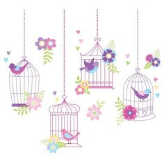 Cute birdcage wall art DIY valentines day decor idea Chirping The Day Away Removable Wall Decals - WallPops for Kids Wall Art