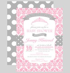 Princess Baby Shower Invitation Girls - Printable Pink Invites - Tutu Baby Shower - Whimsy Celebration - Vintage Party Printed Announcement by PaperCleverParty on Etsy https://www.etsy.com/listing/189897718/princess-baby-shower-invitation-girls