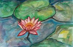 Lotus in Pond  Original Watercolor Painting  SALE by fleurzart, $40.00