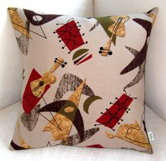 Retro Throw Pillow Cover  Rockabilly Guitars  by atomiclivinhome, $52.00