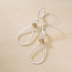 Gold Swirl Teardrop Earrings | mixed metal earrings | wire wrapped earrings | teardrop earrings | hammered wire earrings | silver and gold jewelry | artisan handmade jewelry by Freshie & Zero in Nashville, TN #GoldJewelleryMaking