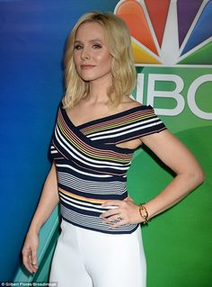 Image result for criss cross striped top kristen bell