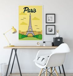Paris Illustration Eiffel Tower Poster