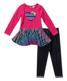 Loving this Fuchsia Heart Tunic & Black Leggings - Toddler & Girls on #zulily! #zulilyfinds
