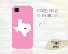 Unique iPhone Case - Pink Chevron State Love iPhone 4 Case, iPhone 4s Case, Cases for iPhone 4, iPhone Cover (0063). $14.99, via Etsy.