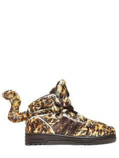 ADIDAS BY JEREMY SCOTT - LEOPARD PRINTED PLUSH SNEAKERS - SNEAKERS - BROWN - LUISAVIAROMA