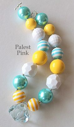 Turquoise and Yellow Chunky little girls Necklace by PalestPink, $25.00