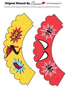 תוצאת תמונה עבור free printable cupcake wrappers and toppers with spiderman Spider Man Party, Fête Spider Man, Superman Birthday Party, Superhero Party, Spiderman Cupcake Toppers, Spiderman Invitation, Cupcakes For Men, Spiderman Theme, Cupcake Wraps