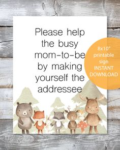 Baby shower games 181481059973163437 - FREE Printable Address Request Baby Shower Sign – Woodland Watercolor Animals Forest Friends Theme – Print It Baby Source by printitbaby Otoño Baby Shower, Fiesta Baby Shower, Baby Shower Candy, Baby Shower Party Supplies, Baby Shower Winter, Baby Shower Signs, Baby Shower Parties, Baby Shower Book Theme, Bridal Shower