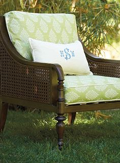 Don't be afraid to add printed furniture as an accent piece for your outdoor living.