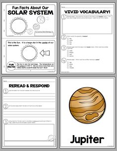 Fun Facts About Our Solar System! - This set includes 2 different student books so you can differentiate for various abilities.  Vocabulary and comprehension assessments are also included, as well as posters of the sun and planets. (29 pages, $)