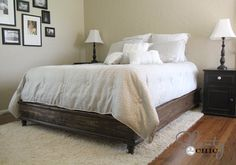 DIY platform bed...super rustic and cute!