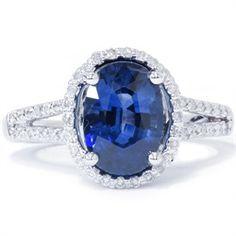 3.40CT Oval Blue Sapphire Split Shank Vintage Diamond Engagement Ring 14K White Gold $6999