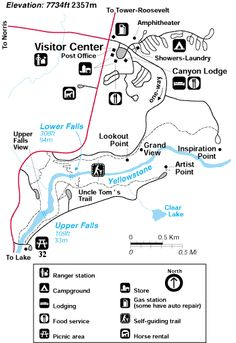 Grand Canyon  at Yellowstone Map of hiking trails in the canyon area.
