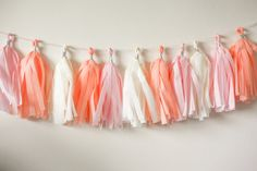 Lets celebrate with peachy pink colored garland!    This tassel garland is great for:  weddings bridal showers  birthday parties  baby showers