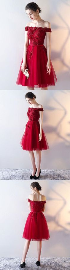 Red Homecoming Dress,Cute Homecoming Dress,Off-Shoulder Tulle Homecoming Dress,A-Line Homecoming Dress,Lace Applique Prom Party Dress