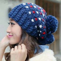 Navy beanie hat lovely ball to keep warm for winter