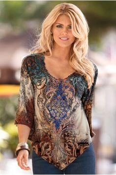 Boston Proper Boho-print blouse
