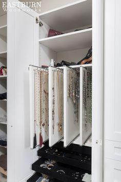 Her master closet jewelry storage in white cabinets - Custom Closets - Jewelry Storage Solutions, Jewellery Storage, Storage Ideas, Diy Storage, Jewelry Drawer, Diy Jewellery, Bedroom Storage, Storage Design, Jewelry Crafts